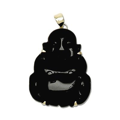14KT Yellow Gold Buddha Shaped with Black Jade Pendant