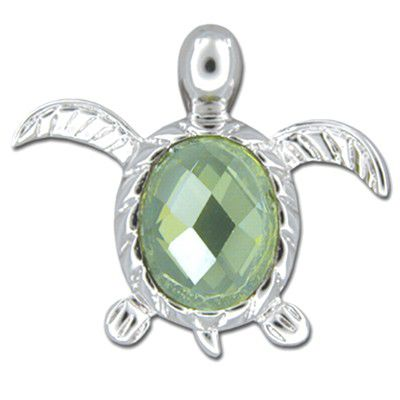 Sterling Silver Hawaiian Honu with Peridot  CZ Slider Pendant