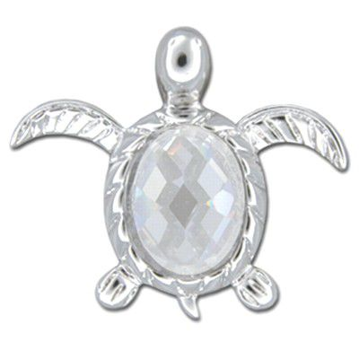 Sterling Silver Hawaiian Honu with Clear CZ Slider Pendant