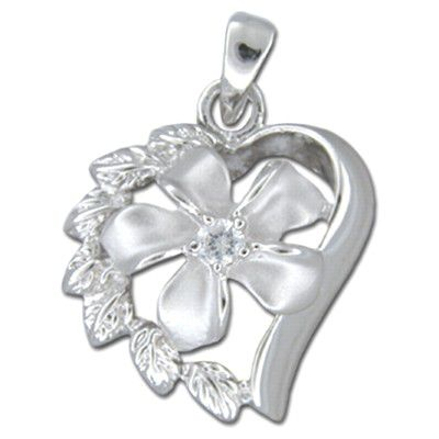Sterling Silver Hawaiian Plumeria in Heart with Clear CZ Pendant