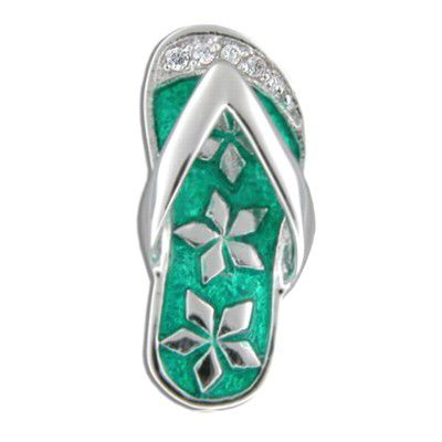 Sterling Silver Hawaiian Slipper with Green Enamel Clear CZ Flower Slider Pendant