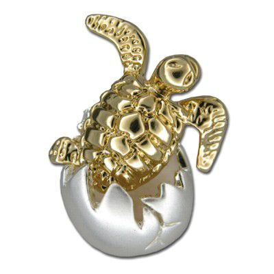 Sterling Silver Two Tone Hawaiian Baby Turtle Hatching Egg Slide Pendant