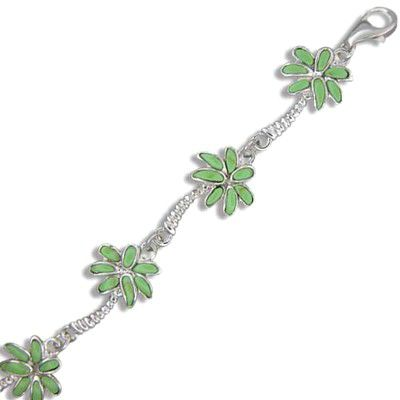 Sterling Silver Hawaiian Green Turquoise Palm Tree Bracelet
