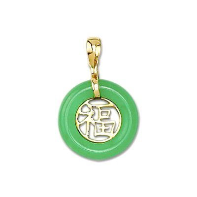 14KT Yellow Gold Chinese Good Fortune Green Jade Pendant