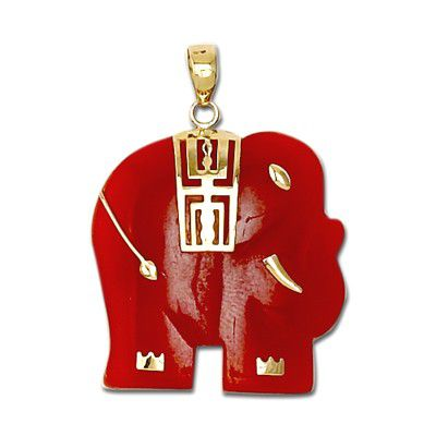 14KT Yellow Gold Elephant Shaped with Red Jade Pendant