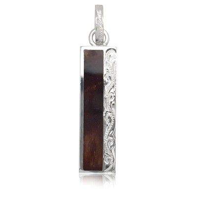 Sterling Silver Hawaiian Engraved Koa Wood Long Bar Shaped Pendant (L)