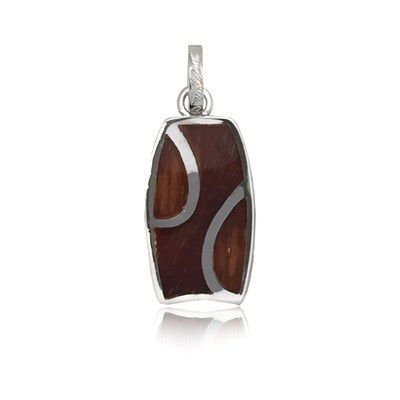 Sterling Silver Hawaiian Koa Wood Bodyboard Shaped Pendant