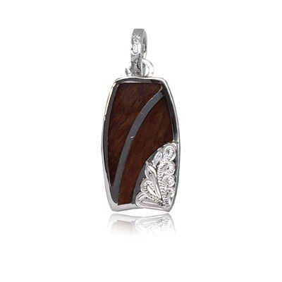 Sterling Silver Hawaiian Koa Wood Bodyboard Shaped Engraved on the Right Side Pendant