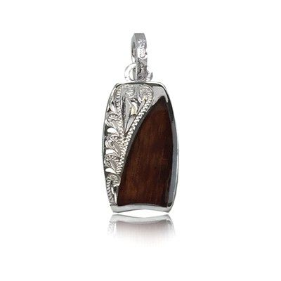 Sterling Silver Hawaiian Koa Wood Bodyboard Shaped Engraved on the Left Side Pendant