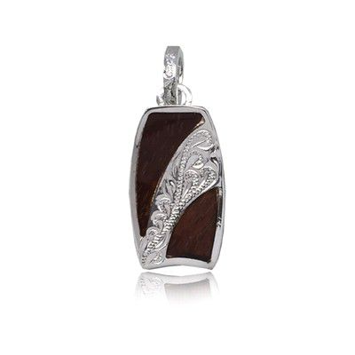 Sterling Silver Hawaiian Koa Wood Bodyboard Shaped Engraved on the Center Pendant