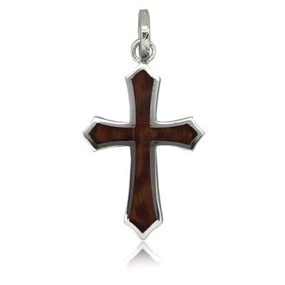 Sterling Silver Hawaiian Koa Wood Cross Shaped Pendant (L)