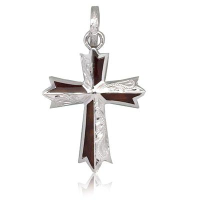 Sterling Silver Hawaiian Koa Wood Engraved Cross Shaped Pendant (L)