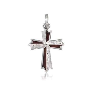 Sterling Silver Hawaiian Koa Wood Engraved Cross Shaped Pendant (S)