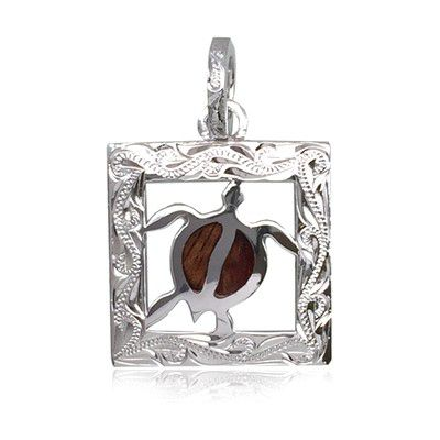 Sterling Silver Hawaiian Koa Wood Engraved HONU in Square Pendant