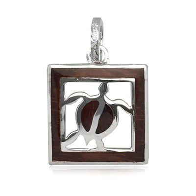 Sterling Silver Hawaiian Koa Wood HONU in Square Pendant