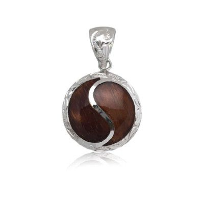 Sterling Silver Hawaiian Koa Wood Round Shaped Pendant