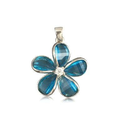Sterling Silver 18MM Hawaiian Plumeria with Semi-Precious Blue Topaz Pendant