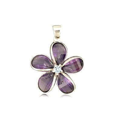 Sterling Silver 18MM Hawaiian Plumeria with Semi-Precious Purple Amethyst Pendant