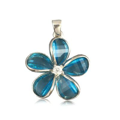 Sterling Silver 24MM Hawaiian Plumeria with Semi-Precious Blue Topaz Pendant