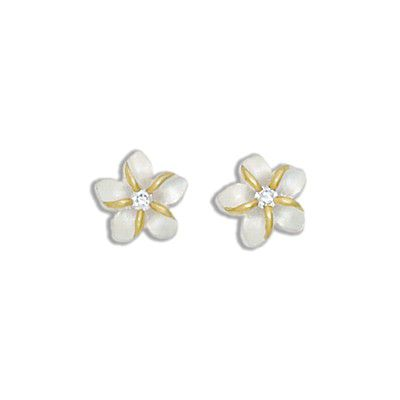 Sterling Silver Two Tone 10MM Hawaiian Plumeria with Clear CZ Design Earrings