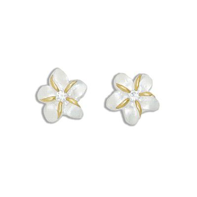 Sterling Silver Two Tone 12MM Hawaiian Plumeria with Clear CZ Design Earrings