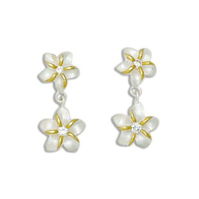 Sterling Silver Two Tone Double Hawaiian Plumeria with Clear CZ Design Drop Earrings