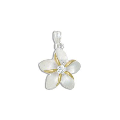 Sterling Silver Two Tone 15MM Hawaiian Plumeria with Clear CZ Design Pendant