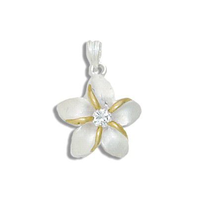 Sterling Silver Two Tone 20MM Hawaiian Plumeria with Clear CZ Design Pendant