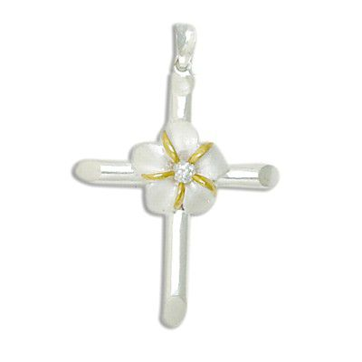 Sterling Silver Two Tone Cross Design with 12MM Hawaiian Plumeria with Clear CZ Pendant