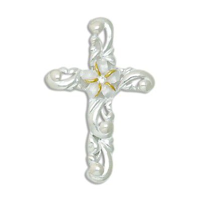 Sterling Silver Cross and Scroll Design with Two Tone 8MM Hawaiian Plumeria with Clear CZ Pendant