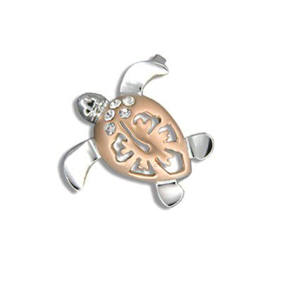 14kt Rose Gold Diamond Hawaiian Hibiscus Honu Pendant (M)
