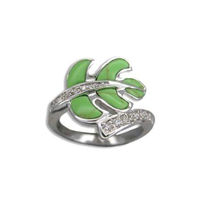 Sterling Silver Hawaiian Green Turquoise Monstera Ring with CZ