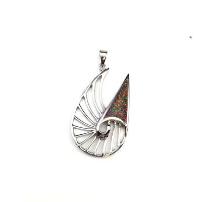 Sterling Silver Hawaiian Cut-In Nautilus Shell Red Fire Opal Pendant