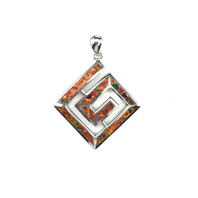 Sterling Silver Hawaiian Geometric Shaped Red Fire Opal Pendant
