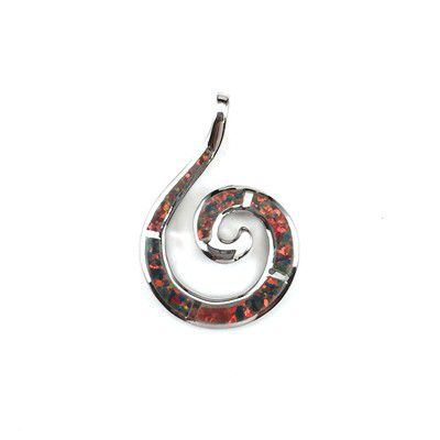 Sterling Silver Hawaiian Wave Shaped Red Fire Opal Pendant