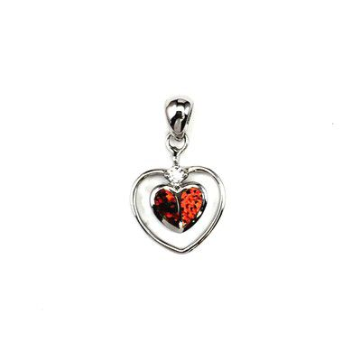 Sterling Silver Hawaiian Heart Shaped Red Fire Opal Pendant