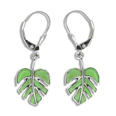 Sterling Silver Hawaiian Green Turquoise Monstera  Lever Back Earrings