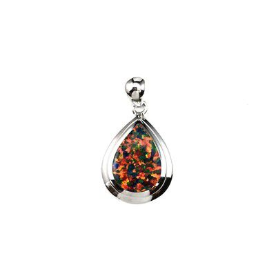 Sterling Silver Hawaiian Waterdrop Shaped Red Fire Opal Pendant