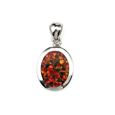 Sterling Silver Hawaiian Oval Shaped Red Fire Opal Pendant