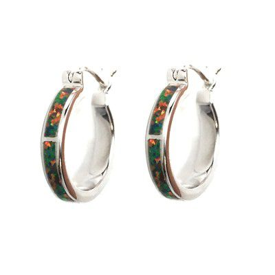 Sterling Silver Hawaiian Hoop with Red Fire Opal Post Earrings