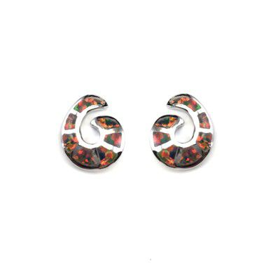 Sterling Silver Hawaiian Wave Shaped with Red Fire Opal Post Earrings