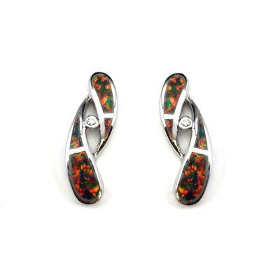 Sterling Silver Hawaiian Curved Shaped with Red Fire Opal Post Earrings