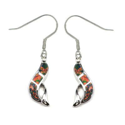 Sterling Silver Hawaiian Dolphin with Red Fire Opal Fish Wire Earrings