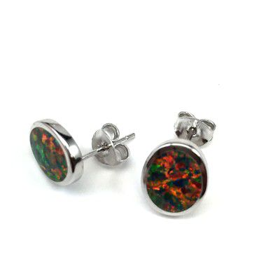 Sterling Silver Hawaiian Oval Shaped with Red Fire Opal Post Earrings