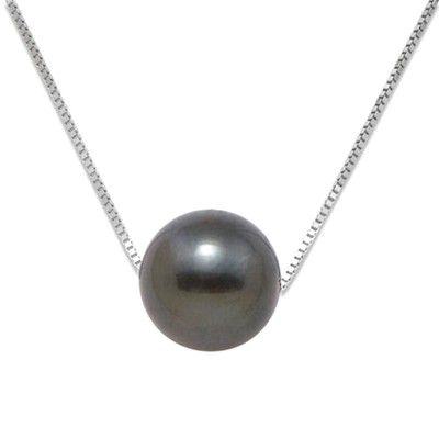 Sterling Silver Floating 9.5mm Black Tahitian Pearl Necklace Box Chain