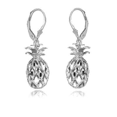 Sterling Silver Hawaiian Pineapple Earrings with Lever Back