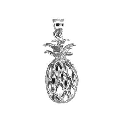Sterling Silver Hawaiian Pineapple Pendant (L)