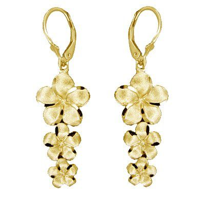14kt Yellow Gold Past Present and Future Plumeria Earrings with Lever Back