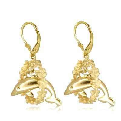 14kt Yellow Gold Hawaiian Dolphin Leis Lever Back Earrings