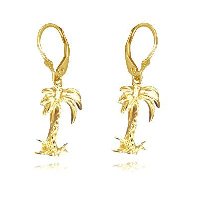 14kt Yellow Gold Hawaiian Plam Tree Lever Back Earrings